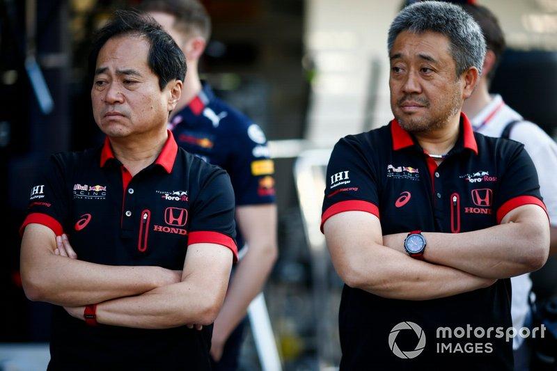 Toyoharu Tanabe, directeur technique F1, Honda, et Masashi Yamamoto, directeur général, Honda Motorsport