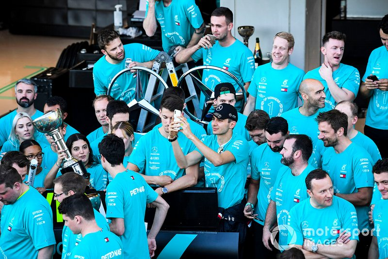 The Mercedes team celebrates after securing the 2019 Constructors Championship