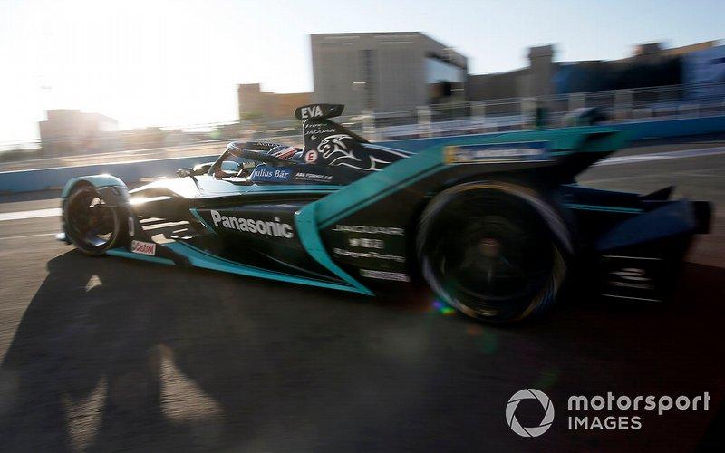 Mitch Evans, Jaguar Racing, Jaguar I-Type 4 exits the garage