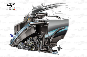 Mercedes AMG F1 W10, chassis detail
