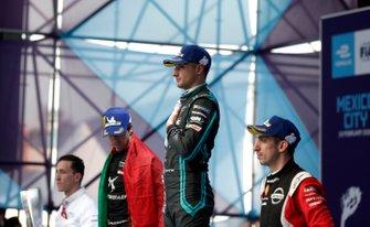 Race winner Mitch Evans, Jaguar Racing on the podium with Antonio Felix da Costa, DS Techeetah, 2nd position, Sébastien Buemi, Nissan e.Dams, 3rd position