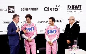Sergio Perez, Racing Point, Lance Stroll, Racing Point, Otmar Szafnauer, Team Principal e CEO, Racing Point e Andreas Weissenbacher, CEO, BWT