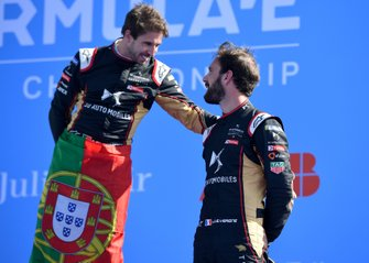 Race winner Antonio Felix da Costa, DS Techeetah celebrates with teammate Jean-Eric Vergne, DS Techeetah, 3rd position, on the podium
