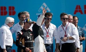 Race winner Maximilian Günther, BMW I Andretti Motorsports celebrates on the podium with Antonio Felix da Costa, DS Techeetah, the Formula E bosses