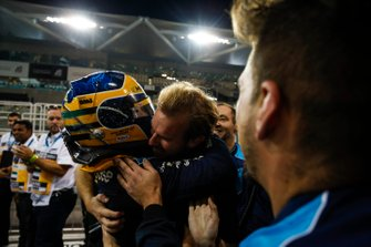 Sergio Sette Camara, Dams, celebrates feature race victory in parc ferme
