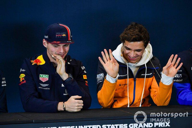 Conferenza stampa, Max Verstappen, Red Bull Racing e Lando Norris, McLaren