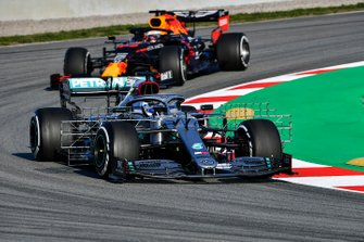 Valtteri Bottas, Mercedes F1 W11 and Max Verstappen, Red Bull Racing