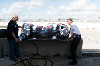 The damaged front nose cone of the #2 Ansa Motor Sports LLC Ligier JS P3: Dr.Timothy George, Neil Alberico and Jon Brownson