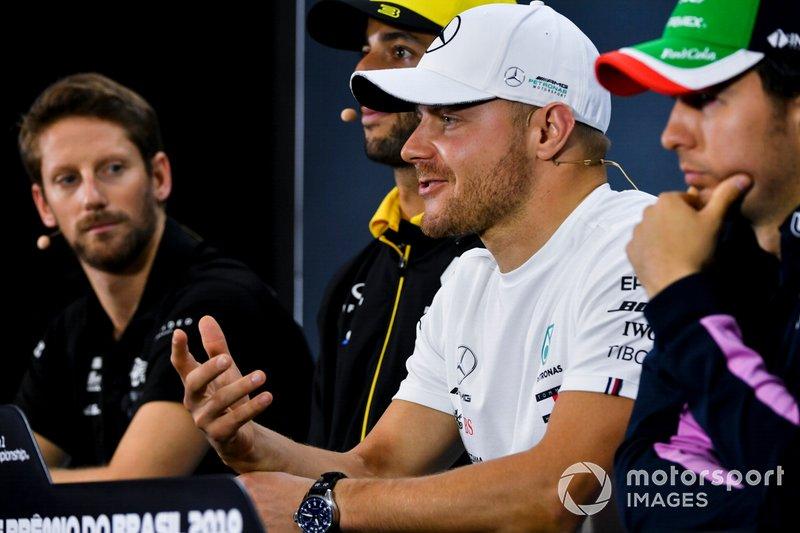 Romain Grosjean, Haas F1, Daniel Ricciardo, Renault F1 Team, Valtteri Bottas, Mercedes AMG F1 and Sergio Perez, Racing Point In the Press Conference