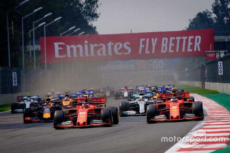 Charles Leclerc, Ferrari SF90, Sebastian Vettel, Ferrari SF90,Lewis Hamilton, Mercedes AMG F1, Max Verstappen, Red Bull Racing RB15, Carlos Sainz Jr., McLaren MCL34, Valtteri Bottas, Mercedes AMG F1