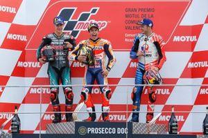 Podio: ganador de la carrera, Marc Márquez, Repsol Honda Team, segundo puesto Fabio Quartararo, Petronas Yamaha SRT, tercer puesto Jack Miller, Pramac Racing