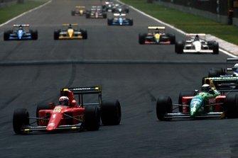 Alain Prost, Ferrari, Alessandro Nannini, Benetton, al GP del Messico del 1990