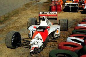 Auto von Ayrton Senna, McLaren MP4/5B, nach Crash