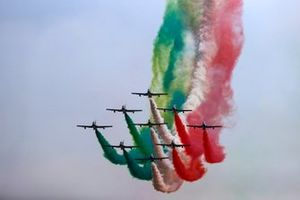 The Italian Air Force display team Frecce Tricolri, display for the crowds in their Aermacchi MB339A's