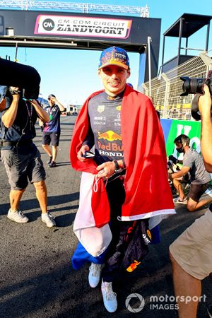 Max Verstappen, Red Bull Racing, 1st position, celebrates after the race