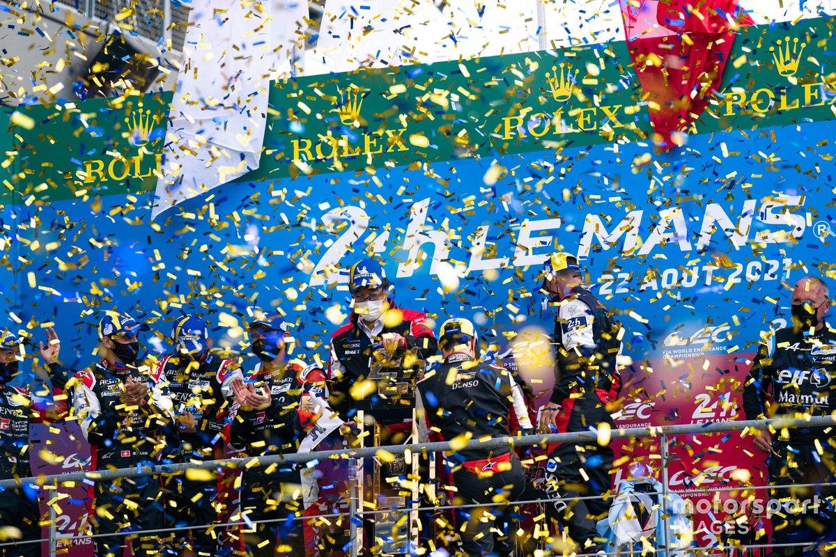 #7 Toyota Gazoo Racing Toyota GR010 - Hybrid Hypercar, Mike Conway, Kamui Kobayashi, Jose Maria Lopez and #8 Toyota Gazoo Racing Toyota GR010 - Hybrid Hypercar, Sebastien Buemi, Kazuki Nakajima, Brendon Hartley celebrate podium