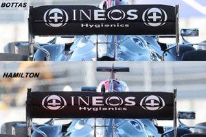 Mercedes AMG F1 rear wing comparison