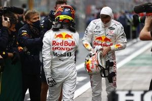 Sergio Perez, Red Bull Racing, 3rd position, and Max Verstappen, Red Bull Racing, 2nd position, in Parc Ferme