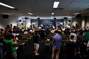 Lando Norris, McLaren, Daniel Ricciardo, Renault F1 Team, Lewis Hamilton, Mercedes AMG F1, Romain Grosjean, Haas F1 and Robert Kubica, Williams Racing in the Press Conference