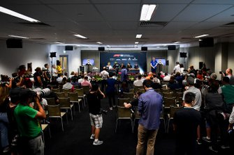 Lando Norris, McLaren, Daniel Ricciardo, Renault F1 Team, Lewis Hamilton, Mercedes AMG F1, Romain Grosjean, Haas F1 and Robert Kubica, Williams Racing in the Press Conference