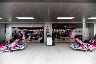 The Racing Point pit garage