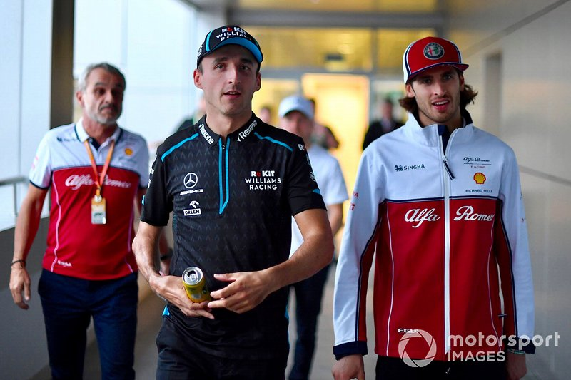 Robert Kubica, Williams Racing, and Antonio Giovinazzi, Alfa Romeo Racing