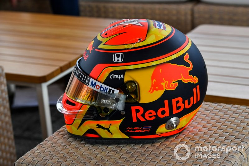 The crash helmet of Alexander Albon, Red Bull