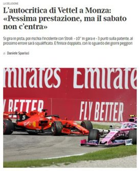 Imprensa Italiana destaca Charles Leclerc e questiona Sebastian Vettel - Corriere della Sera