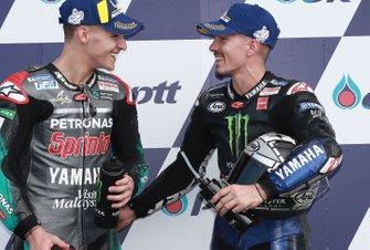 Polesitter Fabio Quartararo, Petronas Yamaha SRT, tweede plaats Maverick Vinales, Yamaha Factory Racing