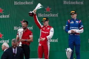 Marcus Armstrong, PREMA Racing, Race winner Robert Shwartzman, PREMA Racing on the podium