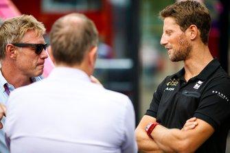 Romain Grosjean, Haas F1, talks to Martin Brundle, Sky TV, and Simon Lazenby