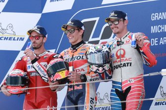 Podium: race winner Marc Marquez, Repsol Honda Team, second place Andrea Dovizioso, Ducati Team, third place Jack Miller, Pramac Racing