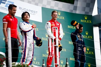 Nobuharu Matsushita, Carlin, Race winner Mick Schumacher, Prema Racing and Sergio Sette Camara, Dams on the podium