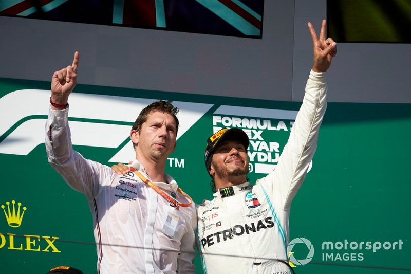James Vowles, Motorsport Strategy Director, Mercedes AMG F1, and Lewis Hamilton, Mercedes AMG F1, 1st position, on the podium