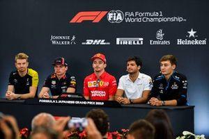 Nico Hulkenberg, Renault F1 Team, Max Verstappen, Red Bull Racing, Charles Leclerc, Ferrari, Carlos Sainz Jr., McLaren and George Russell, Williams Racing in the Press Conference