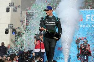 Mitch Evans, Panasonic Jaguar Racing, 1st position, celebrates on the podium