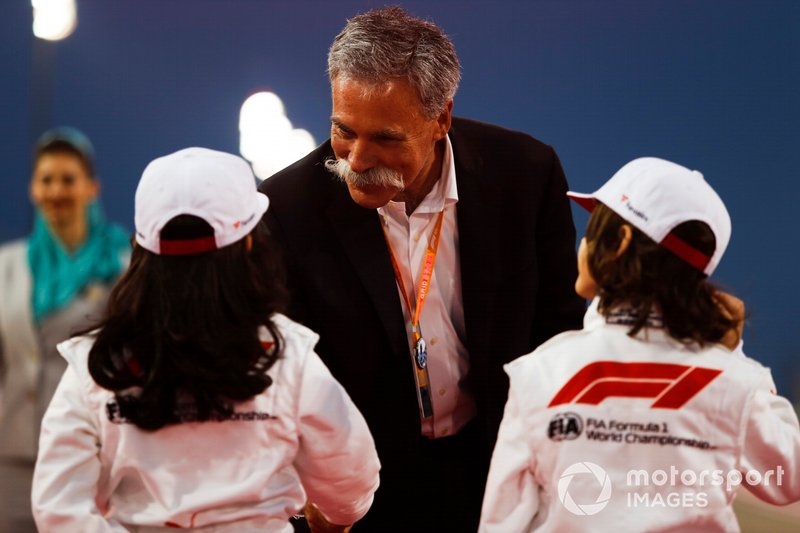 Chase Carey, Chairman, Formula 1, meets some Grid Kids