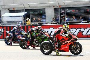 Alvaro Bautista, Aruba.it Racing-Ducati Team, Jonathan Rea, Kawasaki Racing, Alex Lowes, Pata Yamaha race start