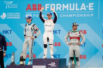 Sam Bird, Envision Virgin Racing celebrates victory on the podium with Edoardo Mortara, Venturi Formula E, 2nd position, Lucas Di Grassi, Audi Sport ABT Schaeffler, 3rd position