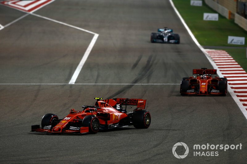 Charles Leclerc, Ferrari SF90, Sebastian Vettel, Ferrari SF90, and Lewis Hamilton, Mercedes AMG F1 W10