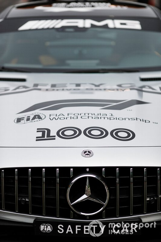 Safety car on the grid with 1000th Race Branding