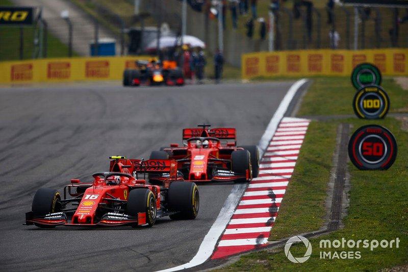 Charles Leclerc, Ferrari SF90, Sebastian Vettel, Ferrari SF90, and Max Verstappen, Red Bull Racing RB15