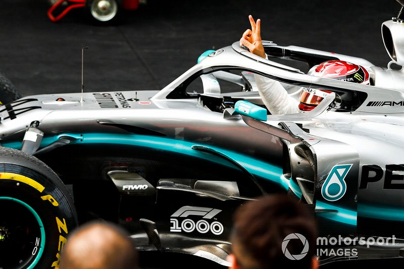 Lewis Hamilton, Mercedes AMG F1, 1st position, celebrates on arrival in Parc Ferme
