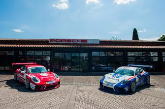 Le Porsche GT3 Cup di Giovanni Berton e Francesco De Luca, AB Racing, con le livree storiche