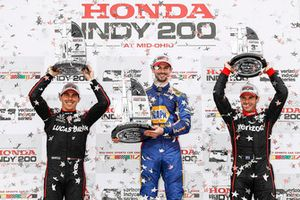 Podium: second place Robert Wickens, Schmidt Peterson Motorsports Honda, winner Alexander Rossi, Andretti Autosport Honda, third place Will Power, Team Penske Chevrolet