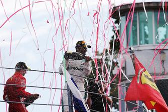 Podium: winner Lewis Hamilton, Mercedes AMG F1, second place Kimi Raikkonen, Ferrari, third place Valtteri Bottas, Mercedes AMG F1