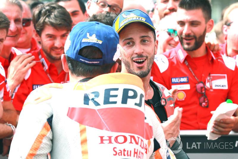 Race winner Andrea Dovizioso, Ducati Team, Marc Marquez, Repsol Honda Team