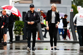 Valtteri Bottas, Mercedes AMG F1, arrives in the paddock