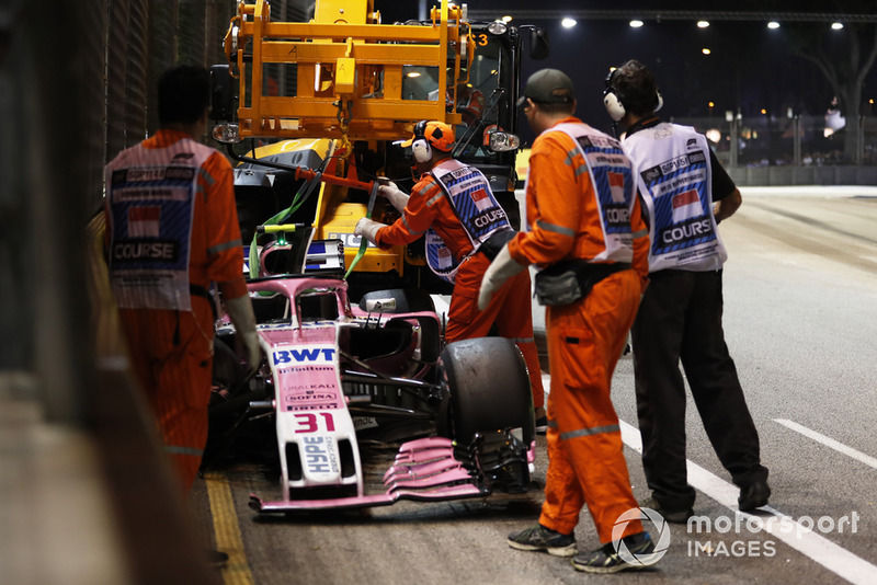 2018 Singapur GP, Esteban Ocon vs Sergio Perez, Force India