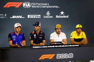 Pierre Gasly, Toro Rosso, Daniel Ricciardo, Red Bull Racing, Fernando Alonso, McLaren, and Carlos Sainz Jr., Renault Sport F1 Team, in the Thursday press conference